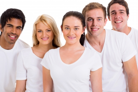 group of friends wearing white t-shirts on white background photo