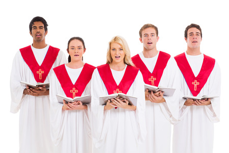church choir singing from hymnal isolated on white background Stock Photo