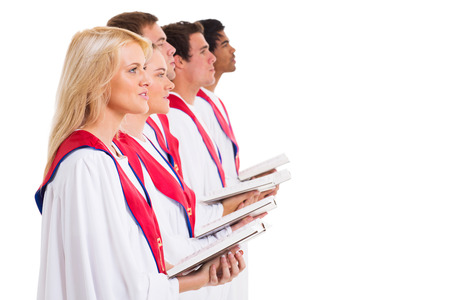 erwachsene: Kirchenchor singt Gruppe von Gesangbuch