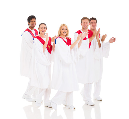 cheerful church choir performing on white background