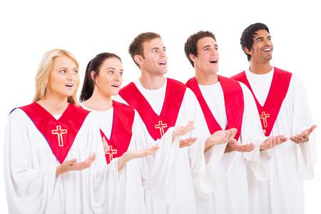 coro: coro de la iglesia cantando en el fondo blanco
