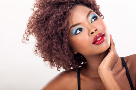 african american female beauty closeup Stock Photo