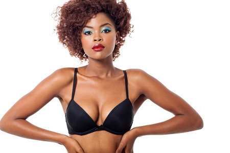 gorgeous young african american model wearing black bra on white  photo