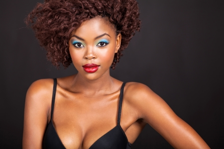 close up portrait of pretty african girl photo