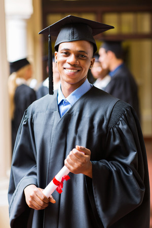 african american male: good looking afro american male graduate on graduation day