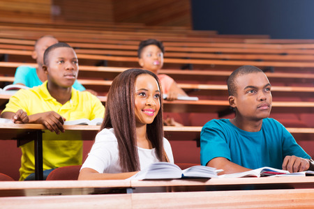 Beautiful Young African American College Students In Lecturing Hall Stock Photo