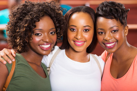 happy black woman: group of beautiful female college friends