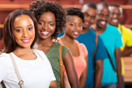 group of cheerful afro american college students photo