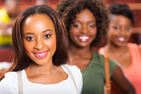 group of happy young african college girls closeup photo