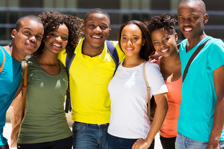 group of happy african college friends Stock Photo