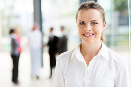 formal portrait: close up portrait of happy young businesswoman Stock Photo