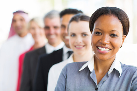 group of multiracial business team standing in a row photo