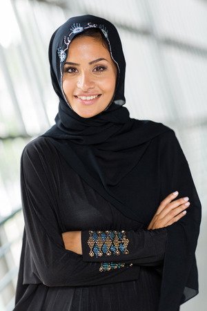 middle eastern ethnicity: beautiful middle eastern woman with arms crossed Stock Photo