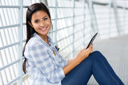 higher education: happy college student with tablet computer Stock Photo