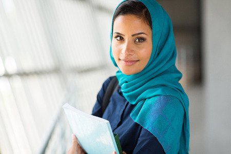 portrait of pretty muslim college student Stock Photo