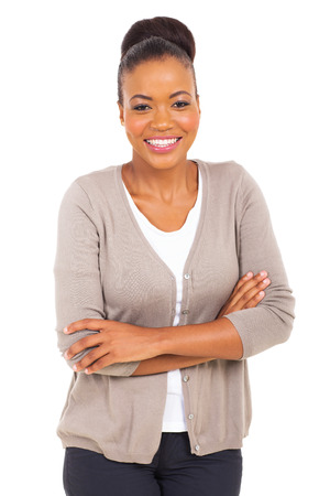 african american businesswoman: happy african businesswoman with arms crossed
