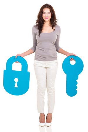 full length portrait: full length portrait of woman holding paper lock and key