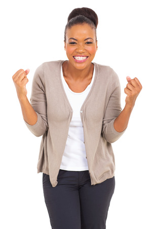 excited business woman: excited afro american woman isolated on white