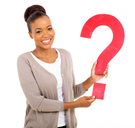 query: happy afro american woman holding question mark