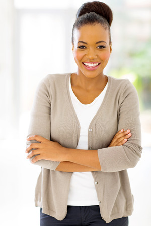 attractive young african businesswoman looking at the camera photo