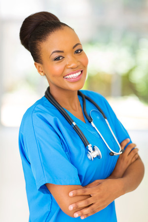 beautiful afro american female medical intern in modern office photo