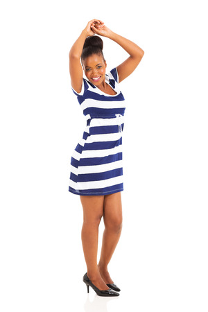 happy african woman: beautiful african american woman dancing on white background