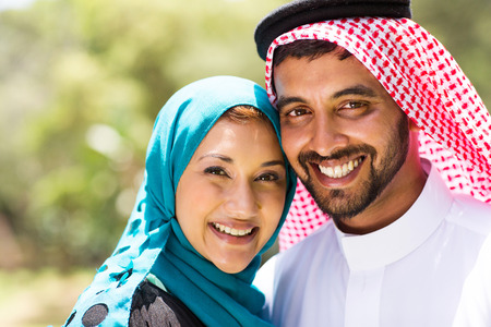 agal: close up portrait of beautiful middle eastern couple