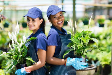 two happy gardeners portrait in greenhouse photo