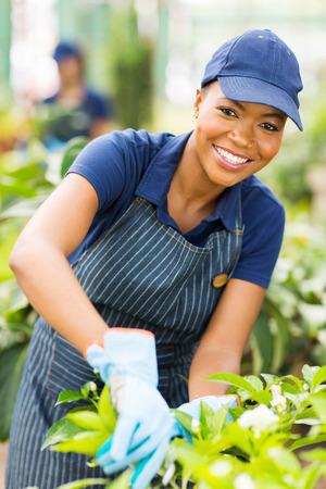 happy young african american nursery worker gardening