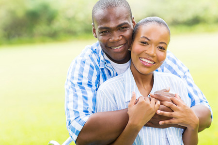 close up portrait of happy young african american couple photo