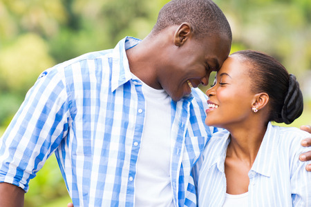 cute young african couple in love Stock Photo