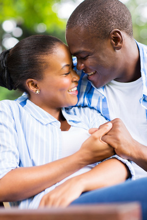 ethnic couple: intimate young african american couple in love Stock Photo