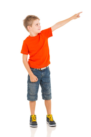 little boy pointing empty copy space photo