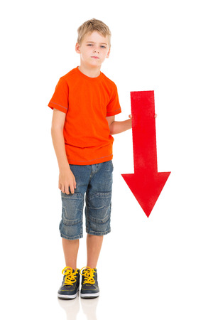unhappy boy with direction arrow sign pointing down photo