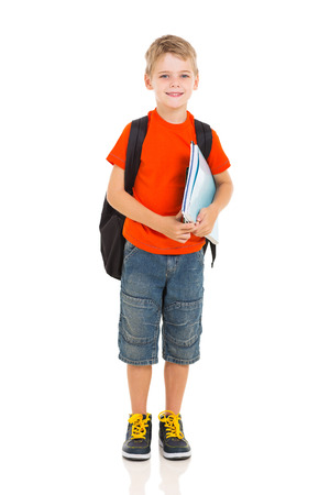 portrait of schoolboy with backpack isolated on white photo