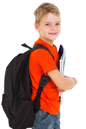 schoolbag: little schoolboy with schoolbag looking at the camera Stock Photo
