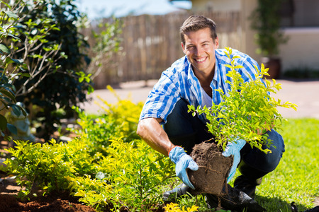 happy young man gardening in backyard Stock Photo