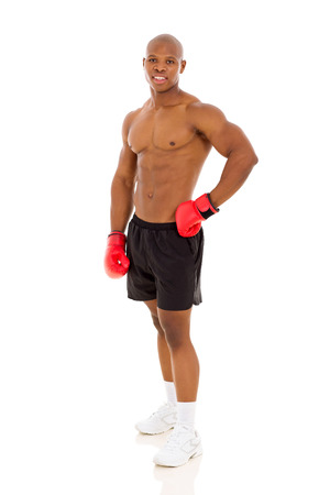 African American boxer standing isolated on white background photo