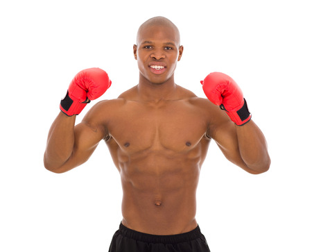 afro american bodybuilder wearing boxing gloves photo