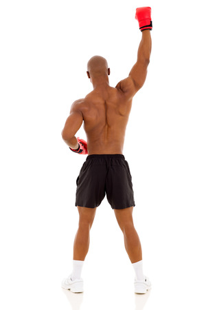 modern fighter: rear view of afro american boxer raising his arms isolated on white background