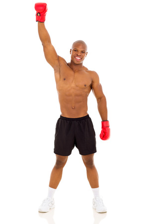 happy young african muscular boxing winner photo