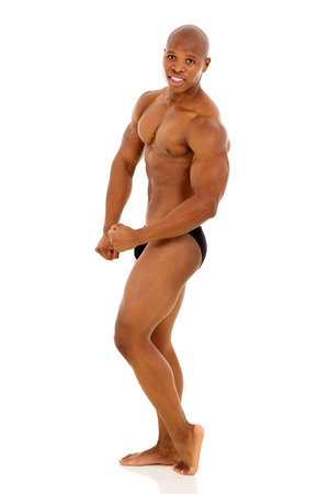 professional african american male bodybuilder isolated on white background photo