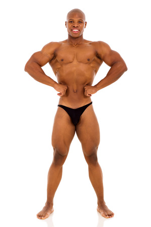 african american male bodybuilder on white background photo