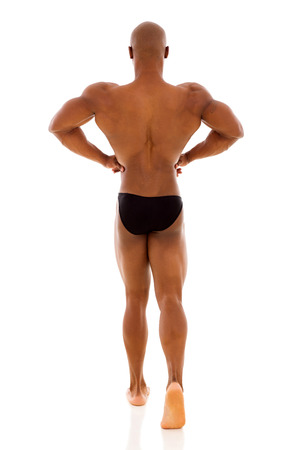 rear view of male african american bodybuilder posing photo
