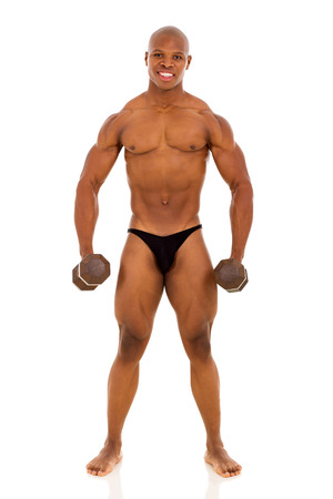 healthy african american muscular man lifting weights photo