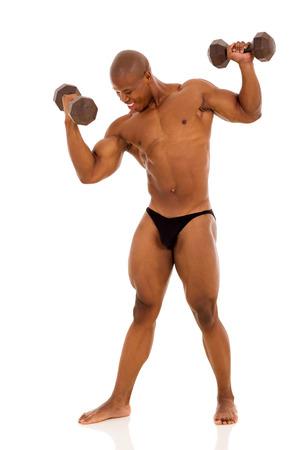 professional black bodybuilder training with dumbbells photo