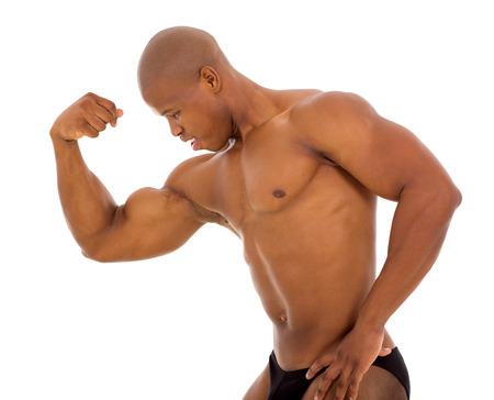 attractive male african bodybuilder posing photo