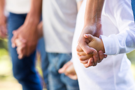 male parent: family holding hands close up