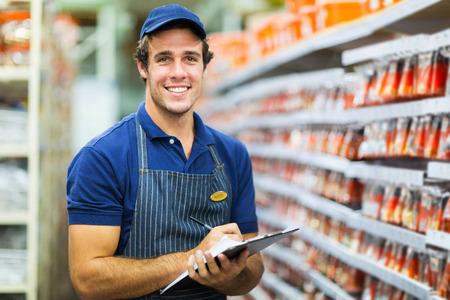 store clerk: hardware shop storekeeper counting stock