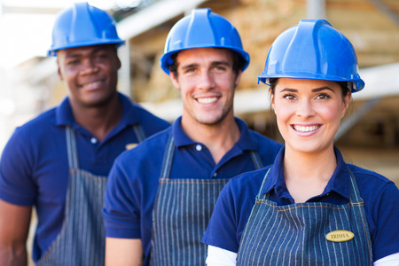 building material: group of happy building material warehouse workers